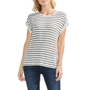 Vince Camuto Striped Short Sleeve Pique Top Grey